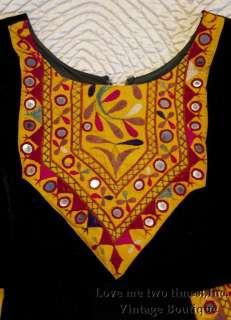 Vintage 60s Hippie Black Velvet Woodstock Embroidered w Mirrors Tunic