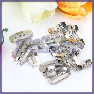 20 Silver Snap Clips for Hair Extension Wigs Weft 28mm