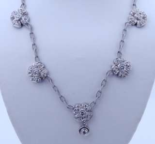 Designer Doris Panos 18K Gold Diamond Flower Necklace