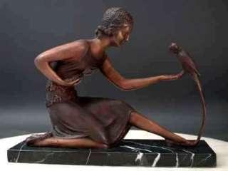Bronze Art Sculpture Deco Girl w/ Parrot by Chiparus