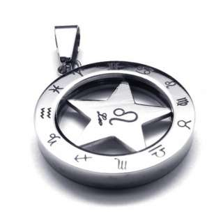 HOROSCOPE FIVE POINT STAR STAINLESS STEEL CHAIN PENDANT