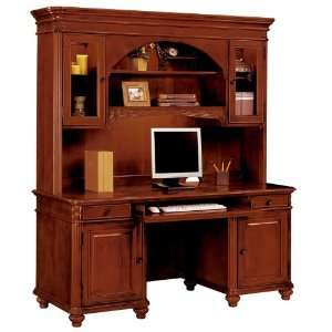 Credenza with Hutch West Indies Cherry Finish: Office Products