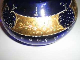 ANTIQUES BOHEMIAN MOSER ENAMEL GLASS JAR HUGE CASKET