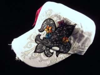White Fleur De Lis Rhinestone Bling Distressed Cadet Hat Cap *NWT