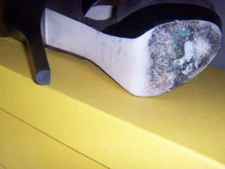 100% AUTH FENDI BUTTERFLY BROWN LEATHER SUEDE PEEP TOE PLATFORM SANDAL