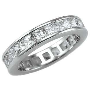 85c Russian Ice CZ Princess Cut Eternity Band Ring 7