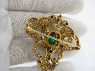 1900s Belle Époque 8.0ct Emerald Diamond & Natural Pearl Platinum