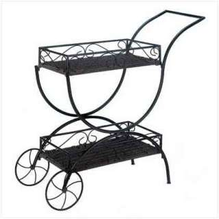 Black Wheels TEA service CART Shelf Shelves Plant Stand