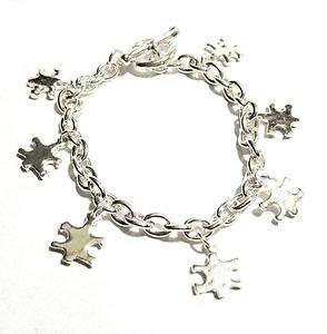 Autism Awareness Silver Multi Puzzle Piece Charm Bracelet