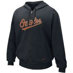 Nike Baltimore Orioles Black Tackle Twill Full Zip Hoody Sweatshirt