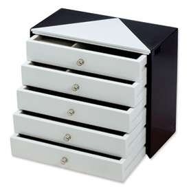 New Black and White High Gloss Finish Jewelry Box Gift