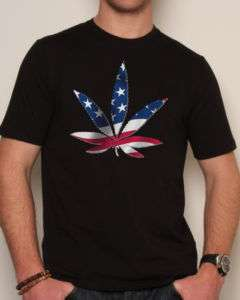 USA American Flag Marijuana Leaf Black Cotton Tee Shirt