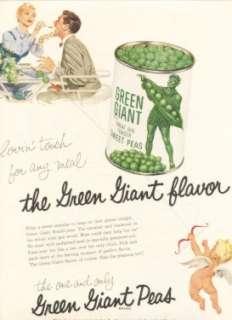 CUPID LOVES GREEN GIANT PEAS ART Vintage Ad 1956