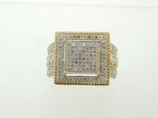 Gorgeous Sparkling Genuine Diamond & Solid 14K Yellow Gold Large Ring