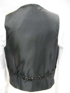 Mens Suit Tuxedo Dress Vest Necktie Bowtie Hanky Set Black Paisley
