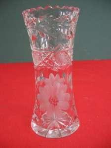 ABP   American Brilliant Cut Glass 6 Vase   Rose/Flower pattern