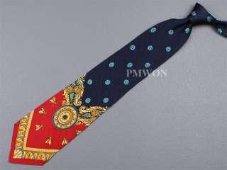 GIANNI VERSACE TIE Floral Fly Dark Blue & Red Silk Necktie