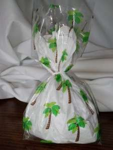 12 Palm Tree Tropical Cellophane Luau Goody Favor Bags