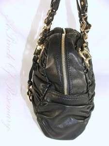 Michael Kors Webster Ruched Leather Large Satchel Bag Purse Black
