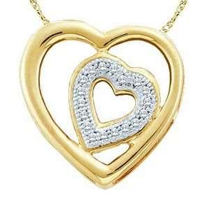 10k Yellow Gold Diamond Two  Hearts Pendant w/ Chain