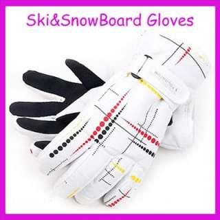 New Waterproofing White&Trickle Ski Snowblard Gloves M