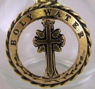 Glass Bronze Holy Water Bottle Font Rose Top Church