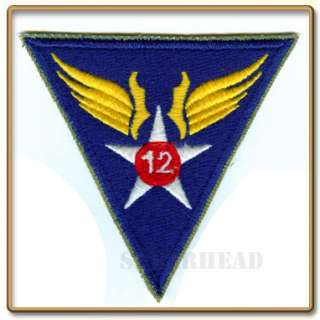 WW2 US Army 12th Air Force Patch ( Cut edge,White back)