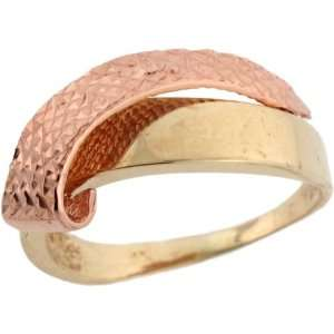 Two Tone Yellow & Pink Real Gold Very Unique Beautiful Ring Jewelry