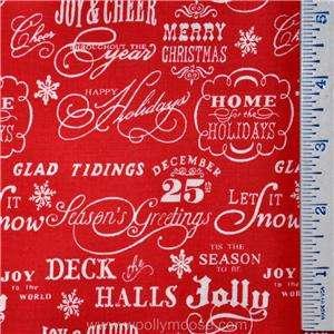 HALF YARD Christmas AE NATHAN Snow Flakes Red WINTER Holiday Fabric 1