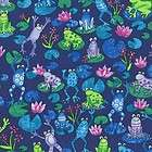 FROG LAKE COLORFUL FROGS NAVY BLUE Cotton Fabric BTY fo