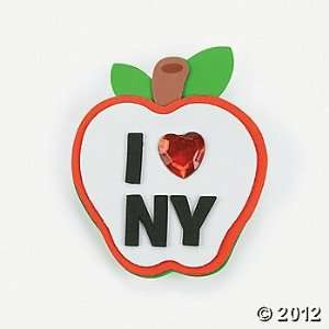 ~ 12 ~ New York Apple Clip Magnet Foam Craft Kits ~ Self