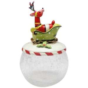 Deer Sitting On Sleigh Glass Cookie Jar, 10 Inch Kitchen & Dining