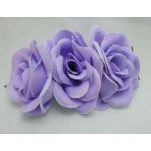 NEW Triple Small Purple Rose Flower Hair Clip, Limited