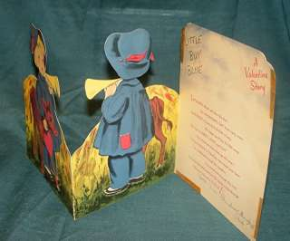 LG NORCROSS FOLD OUT VALENTINE VTG CARD BOY BLUE V 7