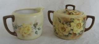 Antique M Z Austria creamer & sugar bowl yellow roses