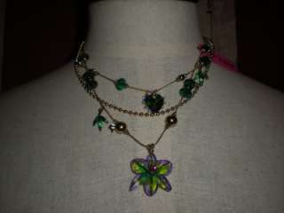 Johnson Asian Jungle Multi Chain Floral Necklace/NWT/USA Seller