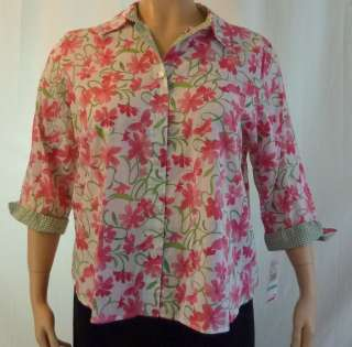 Alfred Dunner Just Checking Button Up Blouse Top Womens Plus Size $50