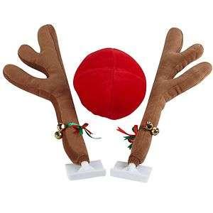 Reindeer Antlers & Red Nose Christmas Car Truck Vehicle Costume Kit