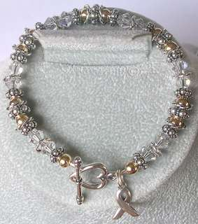 LUNG CANCER AWARENESS BRACELET swarovski crystal GOLD