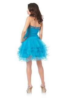 CUTE RUFFLED SKIRT SHORT DRESS SWEET 16 HOMECOMING PROM DANCE PARTY