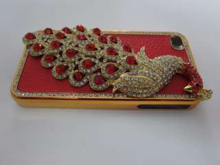 LUXURY Peacock Red Bling Diamond Crystal leather Case Cover for iPhone