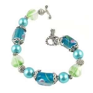 Bracelet   B19   Handmade Fire Polish, Glass and Pearl Beads   Tube