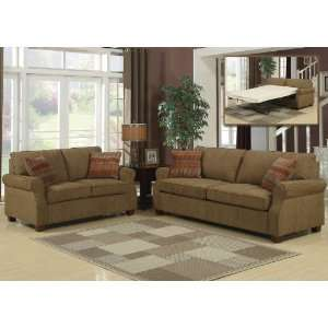 3pc Transitional Modern Fabric Sofa Bed Set, AC ALE S1