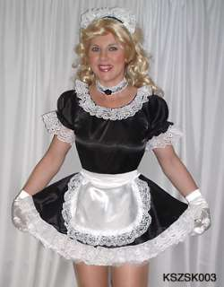 DRESS+PETTICOAT SISSY MAID SATIN TRANSGENDER S XXL NEW