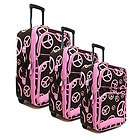 3pc Brown with Pink Peace Signs and Pink Trim Rolling Luggage Set