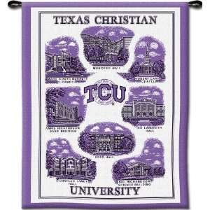 Texas Christian University Collage Woven Tapestry Wall Hanging   34 x