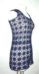 Sexy Vintage 70 Knit Tricot Crochet Tank Micro Dress M