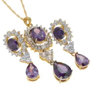 fashion wedding jewelry oval cut set purple amethyst pendant necklace