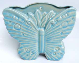 McCoy Blue Ceramic Butterfly Vase Wall Pocket Planter