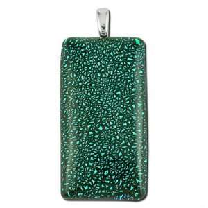 50mm Rectangle Dichroic Glass Pendant Arts, Crafts